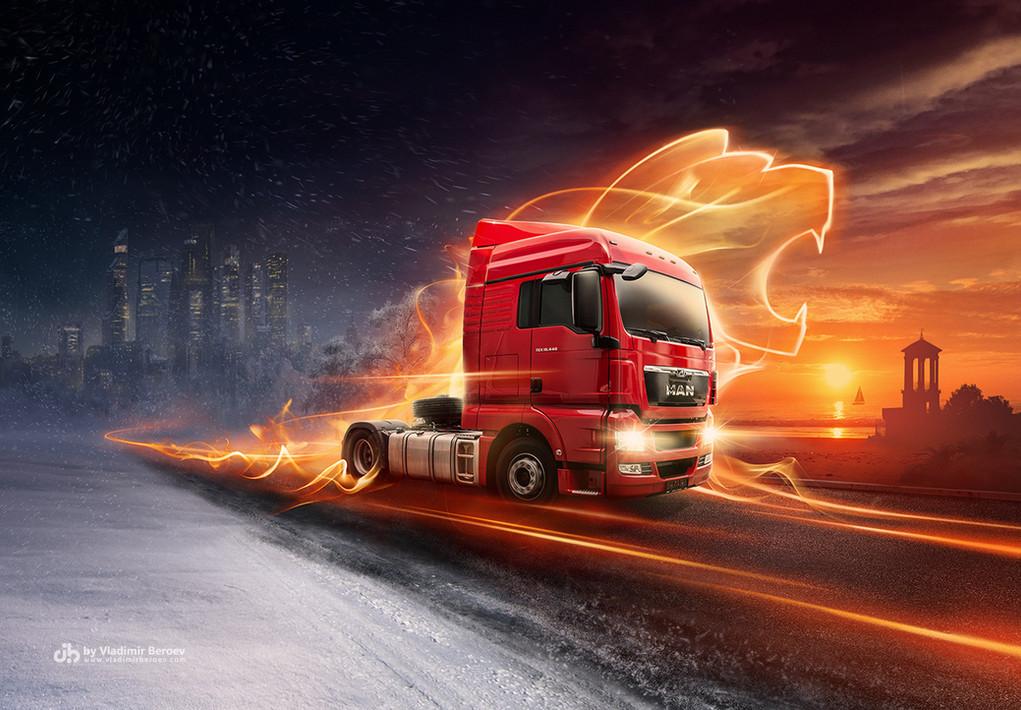 Имиджевый вижуал с новым грузовиком MAN