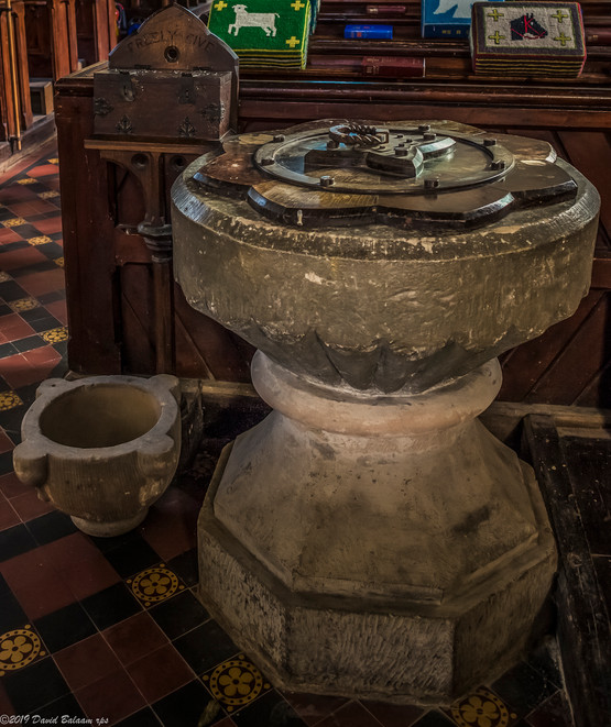 The church possesses three fonts: a 12thc. one with a scalloped bowl; a 13thc. one, and a 17thc. one with a fluted bowl. It also contains two small mortars of uncertain date, probably post-Medieval.
