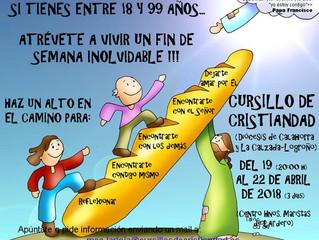 Cursillo de Cristiandad: 19 al 22 de abril