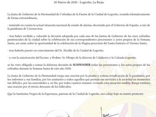 Comunicado Procesiones Semana Santa 2020 - Logroño