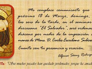 18 de marzo: Ordenación Diaconal de Alfonso Sáenz Rodrigo