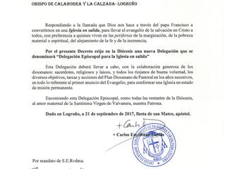 """Decreto de erección de la """"Delegación Episcopal para la Iglesia en salida"""""""