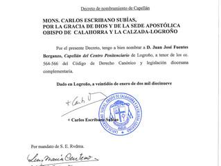 Nombramiento del Capellán del Centro Penitenciario de Logroño