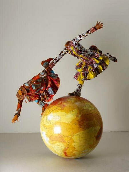 girls on a globe