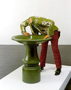 Headless man trying to drink
