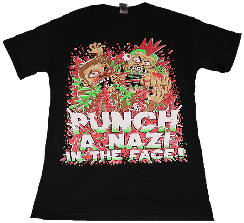 Punch a Nazi in the face Redux on Unisex Black Tee