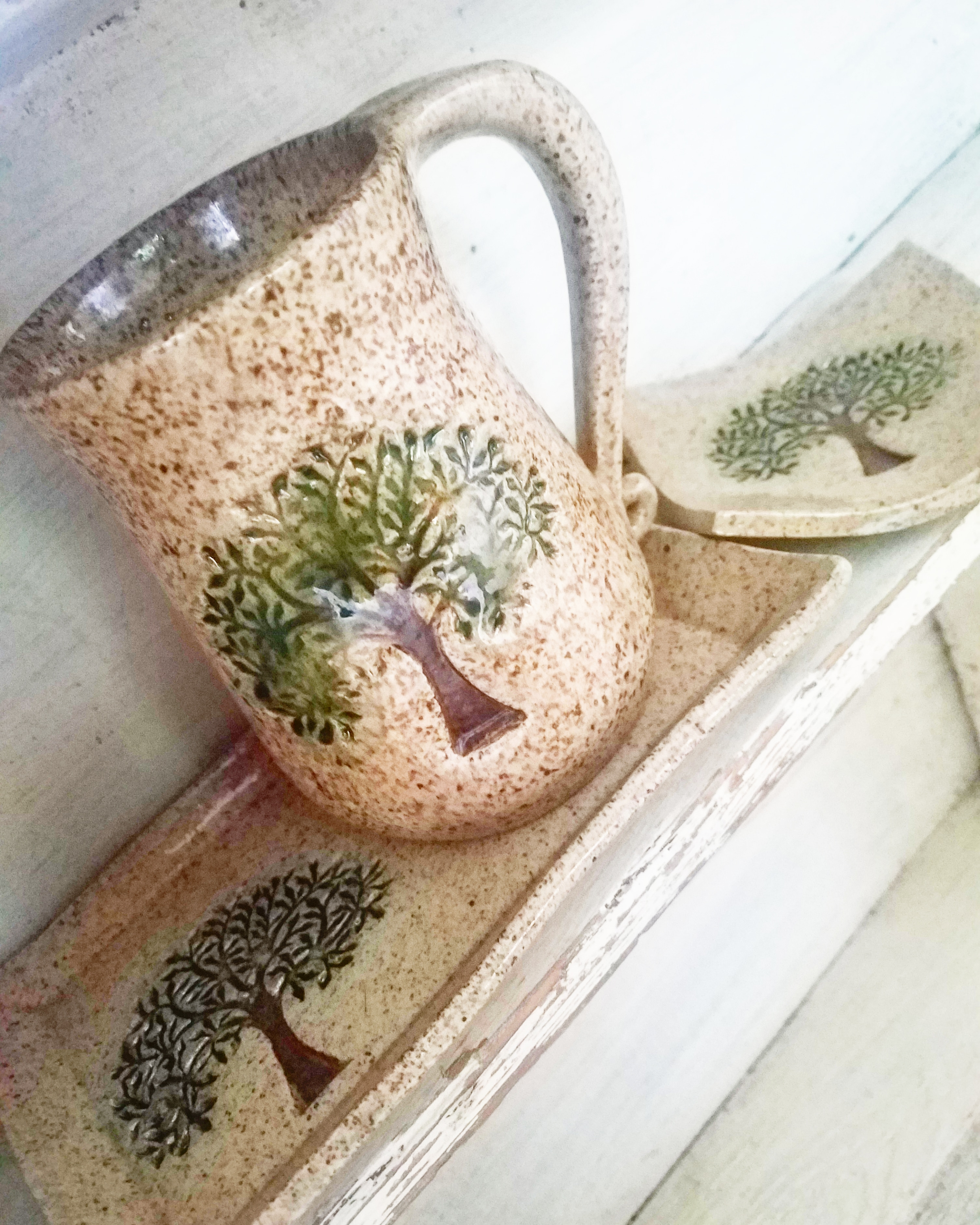 tree mug  tree plate and tree spoon