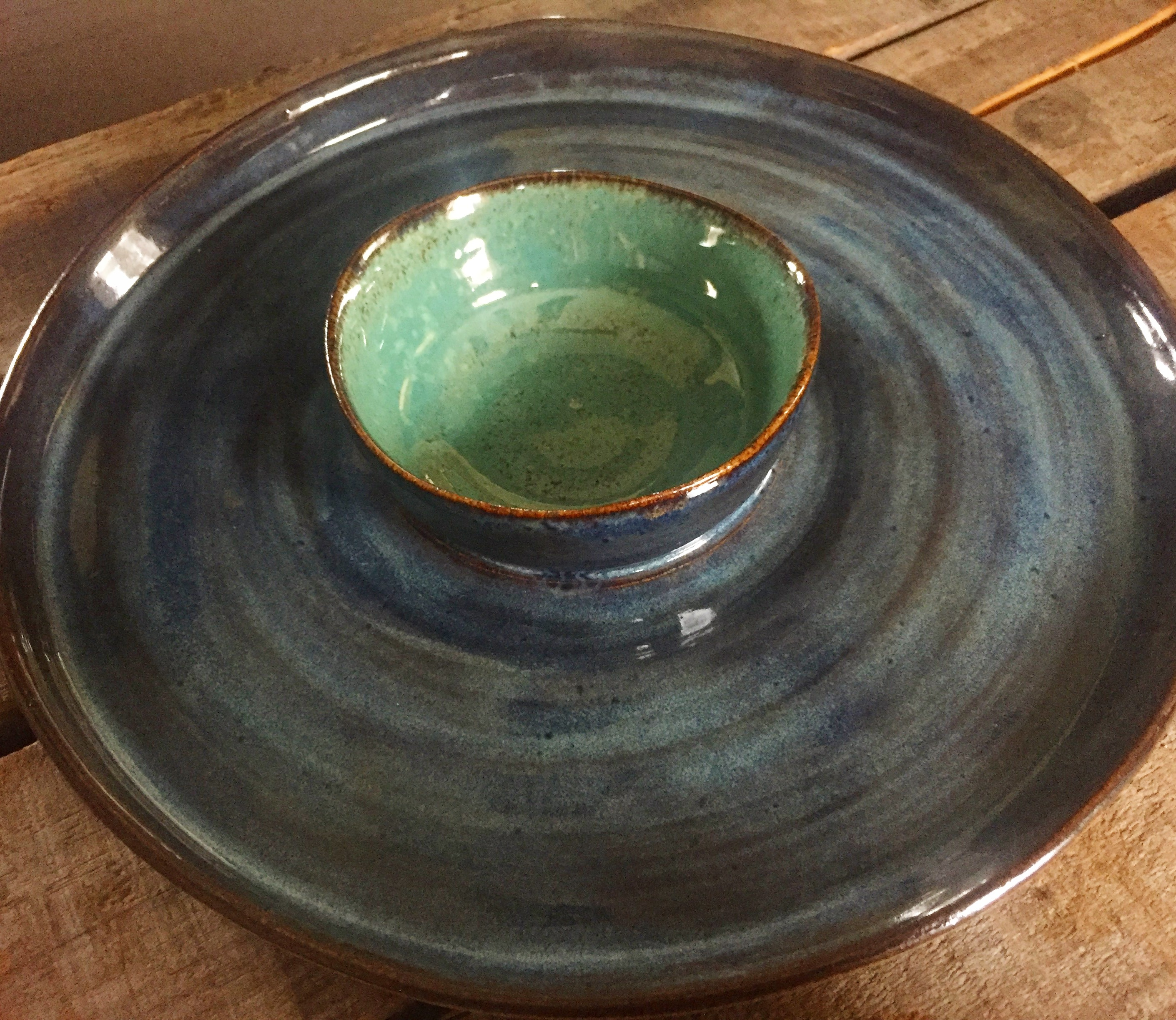 wheel thrown chip and dip bowl