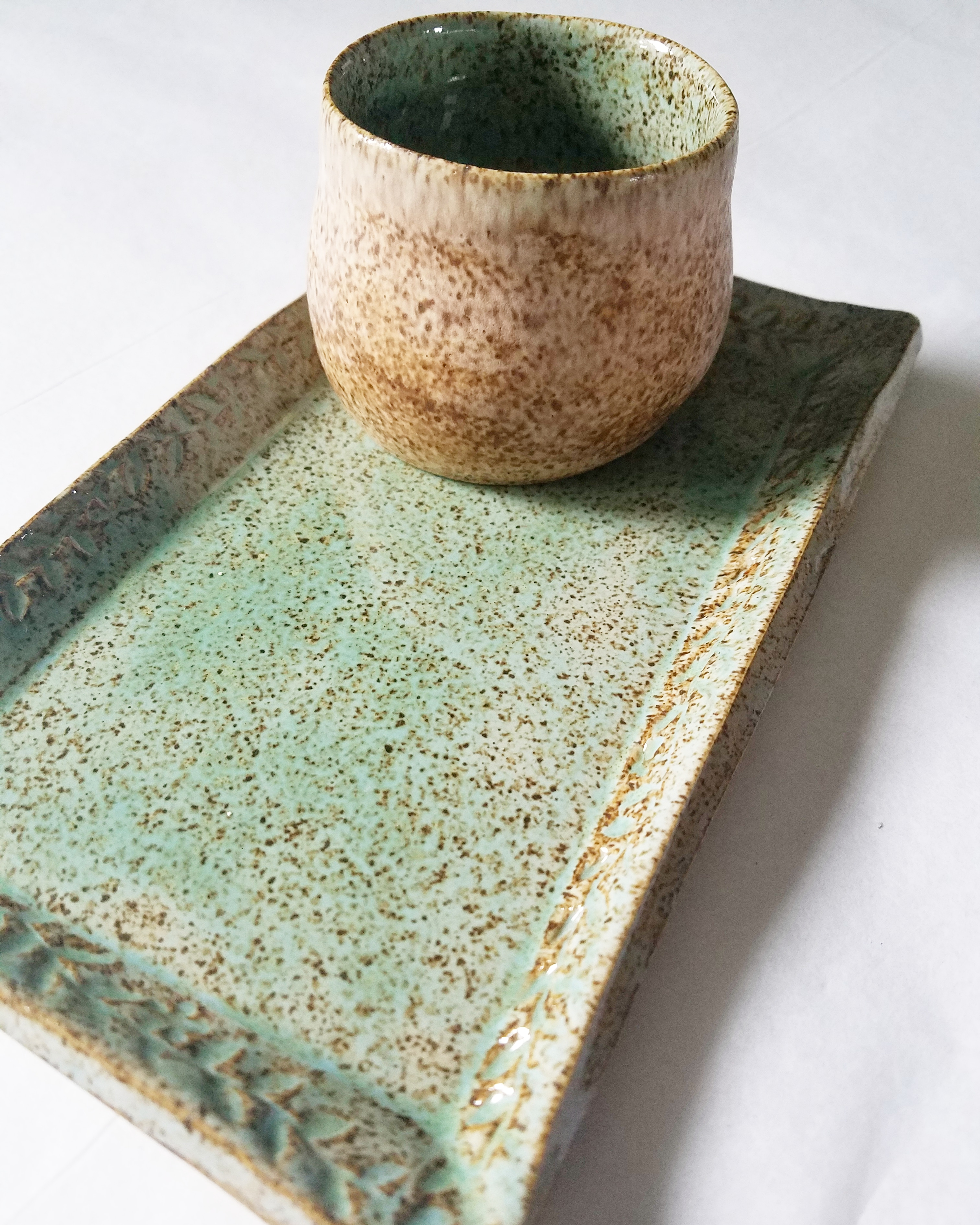 aqua and white rustic pottery set