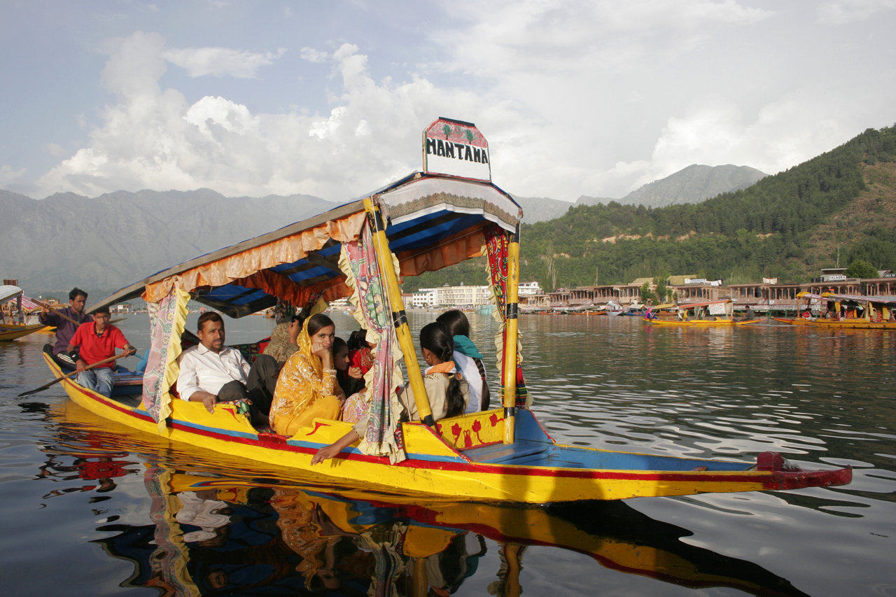 Shikara on Dal Lake, Kashmir.
