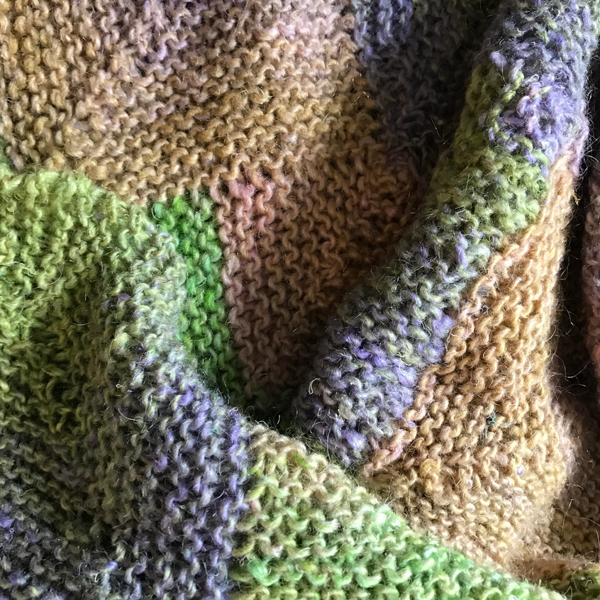 Noro yarn knitted blanket