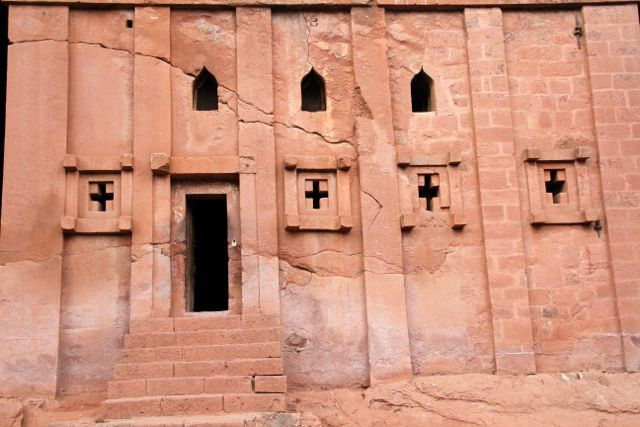 Rock church facade, Ethiopia.