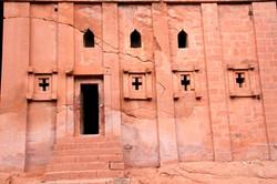 Rock church facade, Ethiopia.