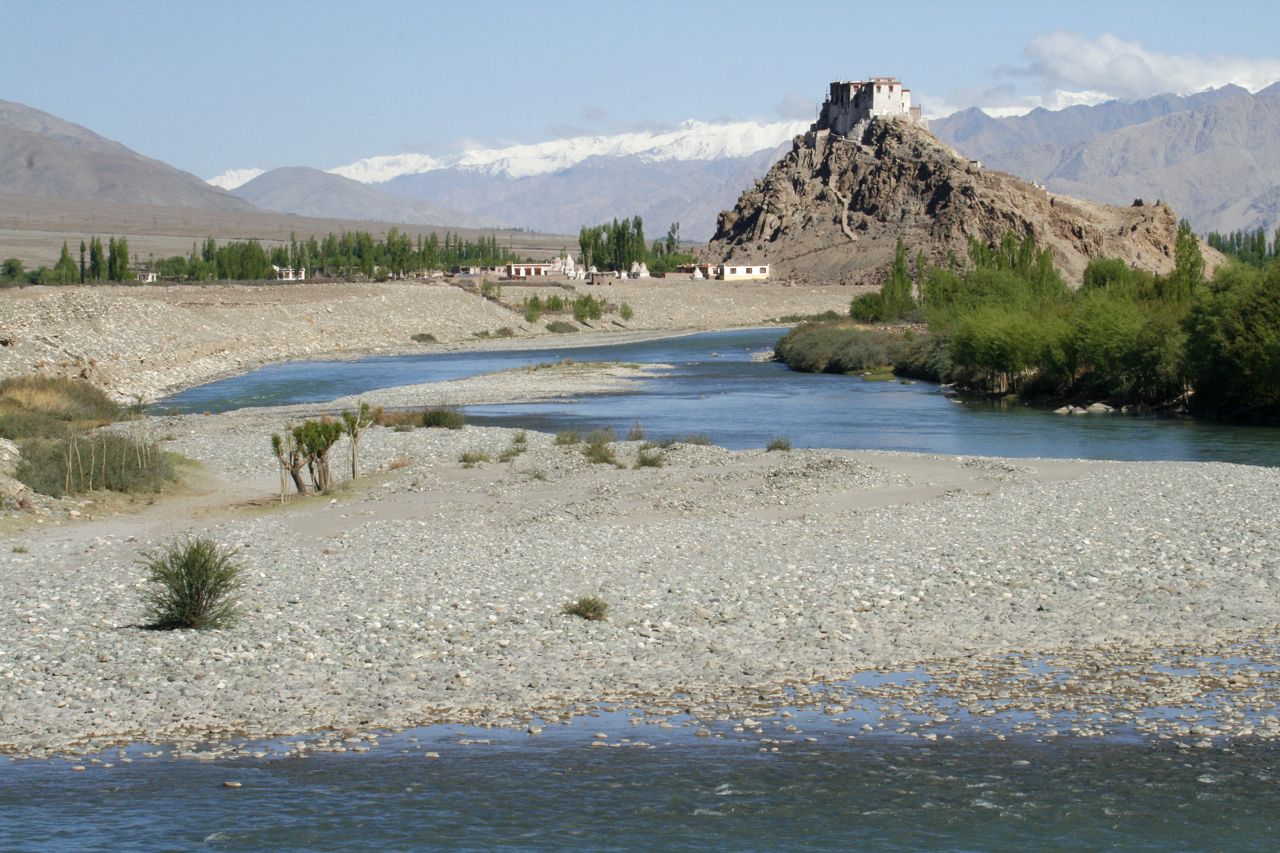 Indus River and Monastery, India.