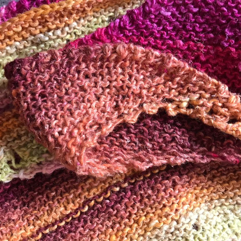 Knitted scarf using Noro