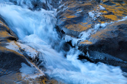 Flowing water and ice.