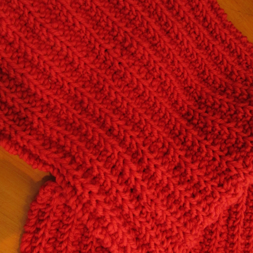 No purl ribbed scarf