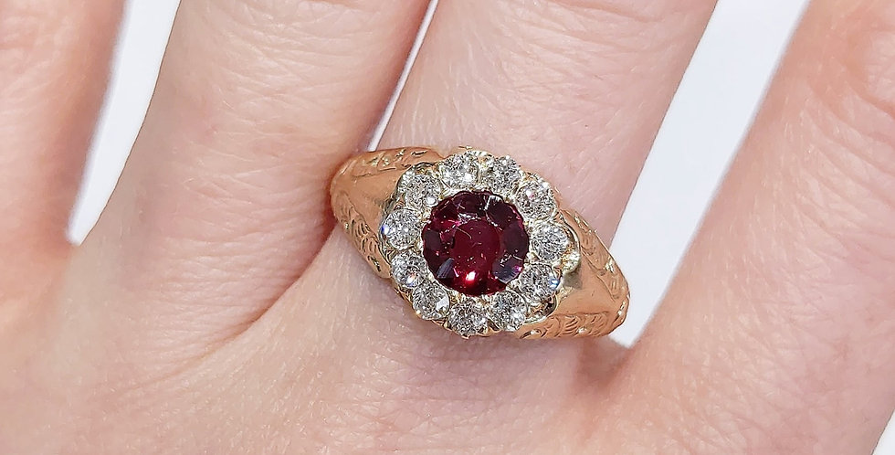 14kt Rhodolite Garnet and Old Mine cut Diamond Ring