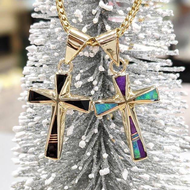 14kt Black Onyx & Opal Crosses