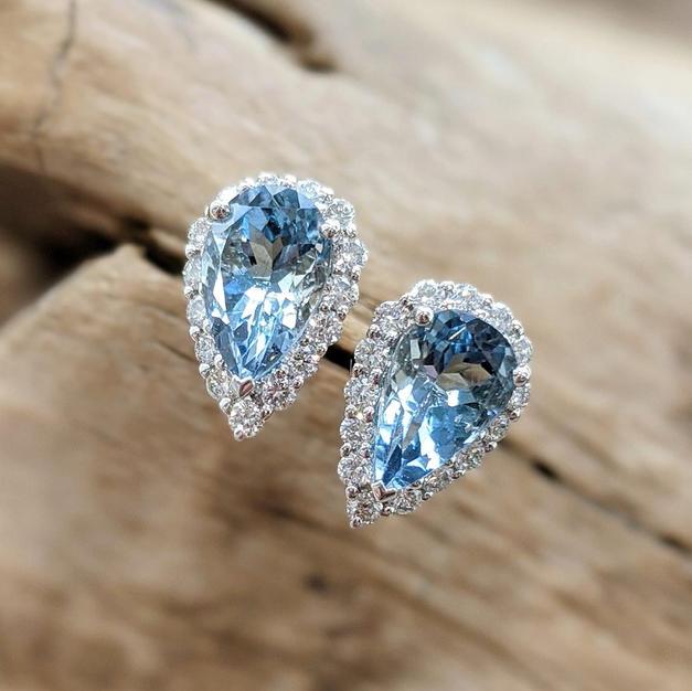 14kt Aquamarine and Diamond Stud Earrings