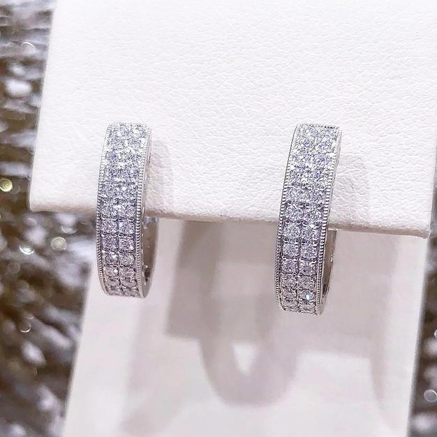 14kt Double row Diamond Hoops