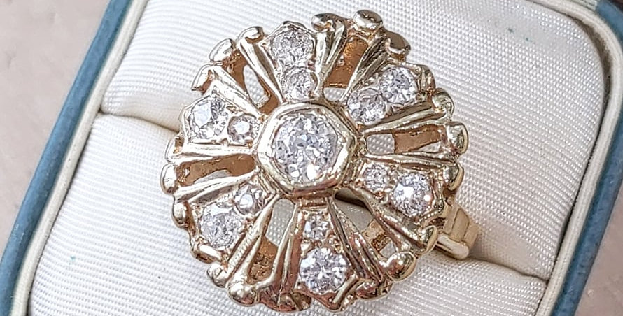 14kt Old Mine cut Diamond Ring