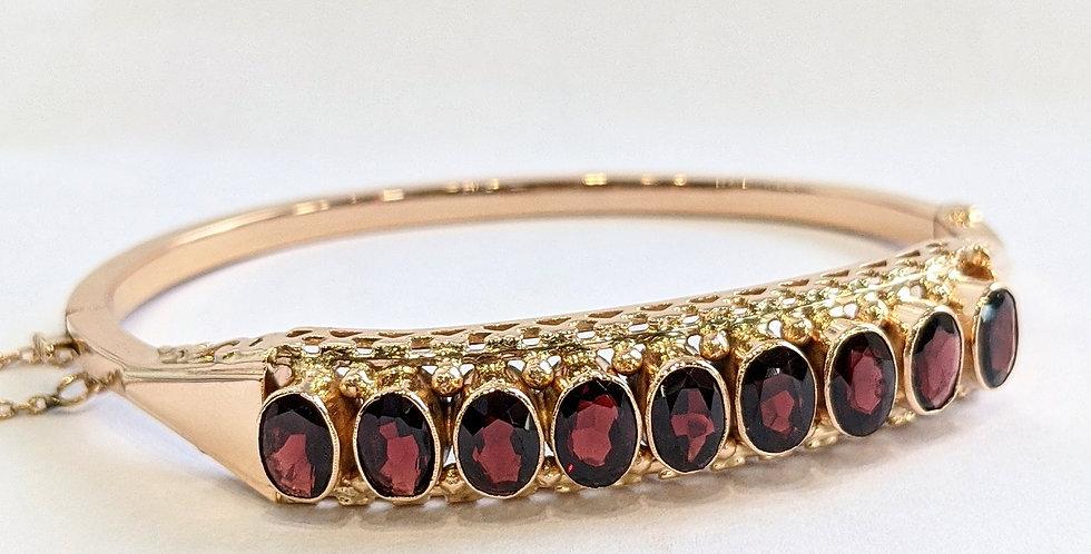 14kt Rose Gold Garnet Bangle