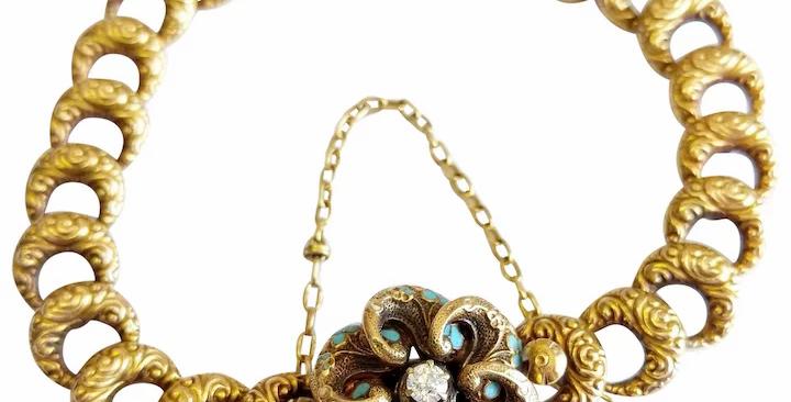 14kt Floral Enamel Bracelet