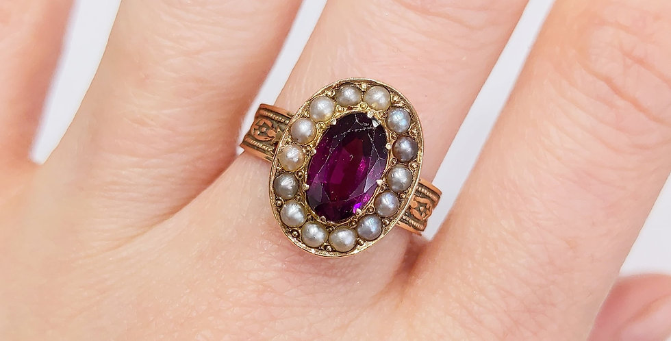 14kt Pink Sapphire and Seed Pearl Ring