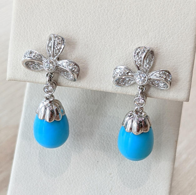 18kt Diamond and Turquoise Earrings