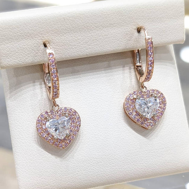 14kt Rose Gold Pink and White Diamond Earrings