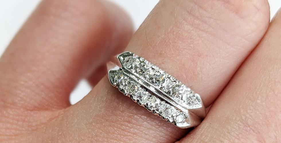 14kt Single cut Diamond Band