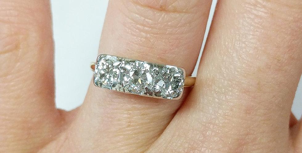 14kt Two-tone 3 Diamond Ring