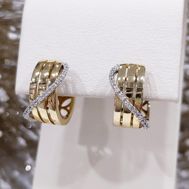 14kt Two-tone Diamond Hoops