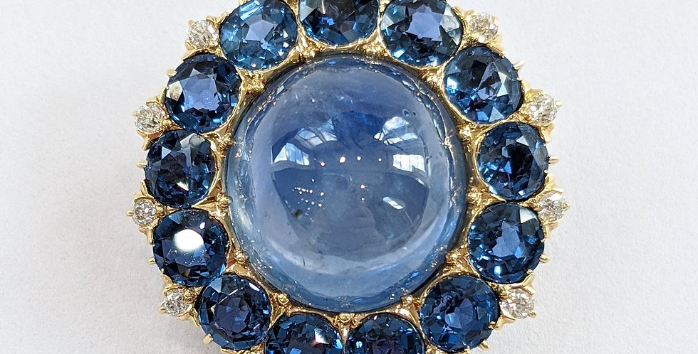 18kt Sapphire and Diamond Brooch/Pendant