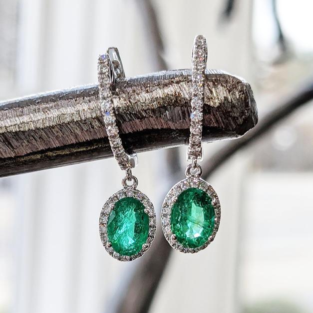 14kt Emerald & Diamond Earrings