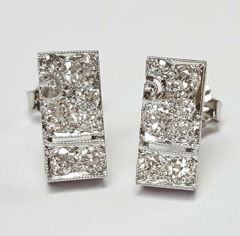 Repurposed from an old Art Deco watch band, these earrings were custom made by Harry himself.
