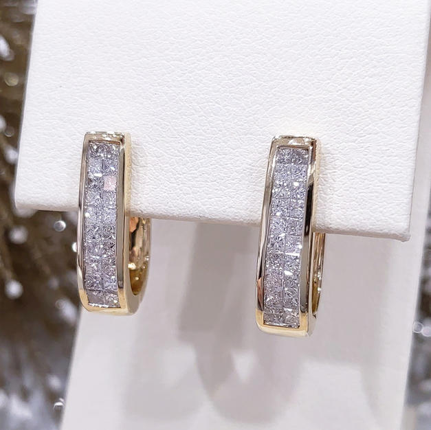 14kt Princess cut Diamond Hoops