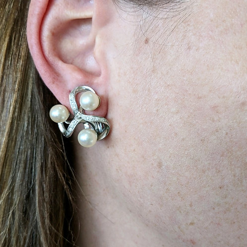 14kt Cultured Pearl and Diamond Earrings