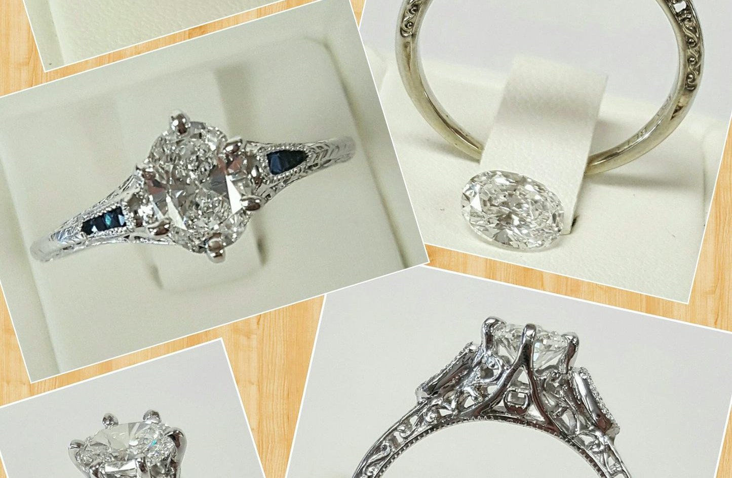 This ring was quite the project from start to finish! Harry had to completely reshape the center crown to fit the Diamond in the opposite direction. The customer was amazed with the result and so very happy!