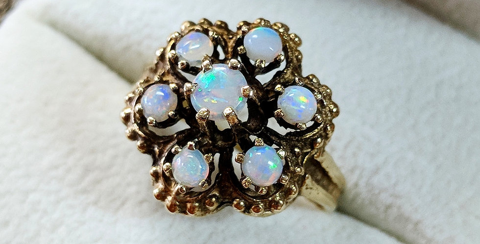 14kt Opal Flower Ring