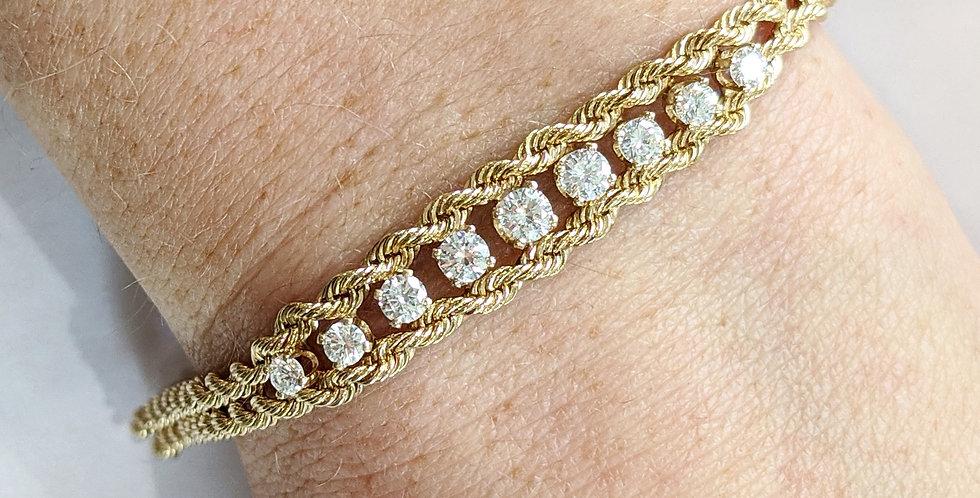 Custom made 14kt Diamond Rope Chain Bracelet