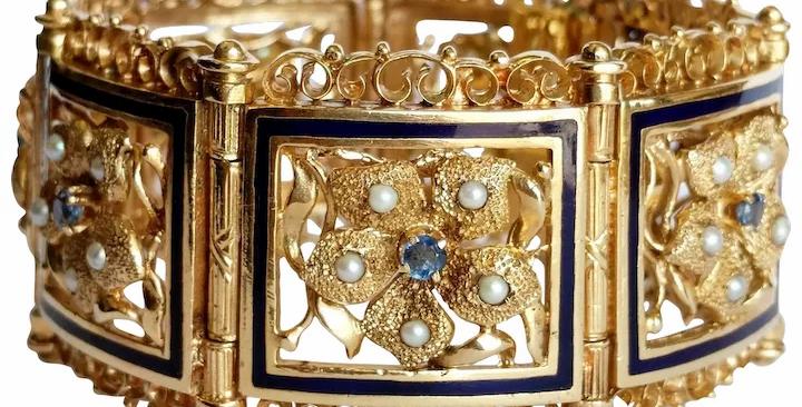 14kt Sapphire, Pearl and Enamel Floral Bracelet