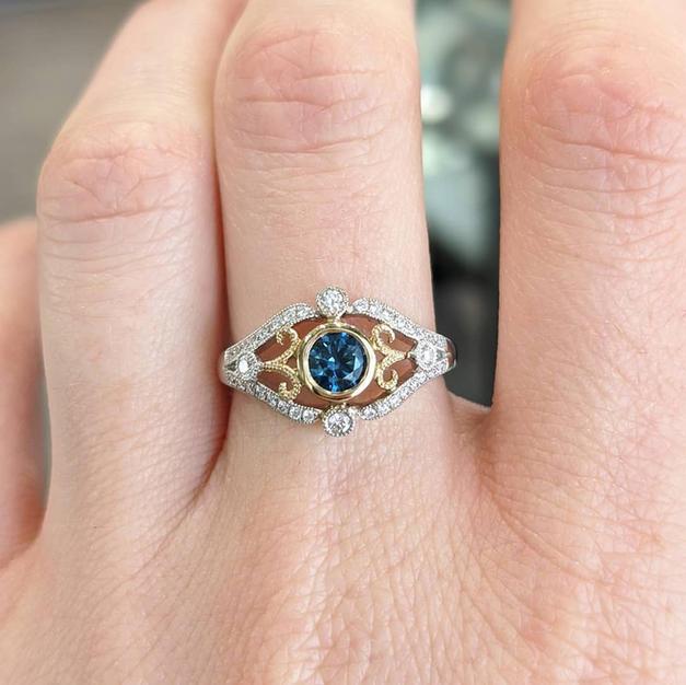 14kt Two-tone Montana Sapphire and Diamond Ring