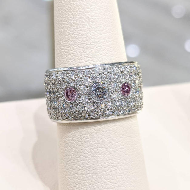 14kt Natural Pink and Blue Diamond