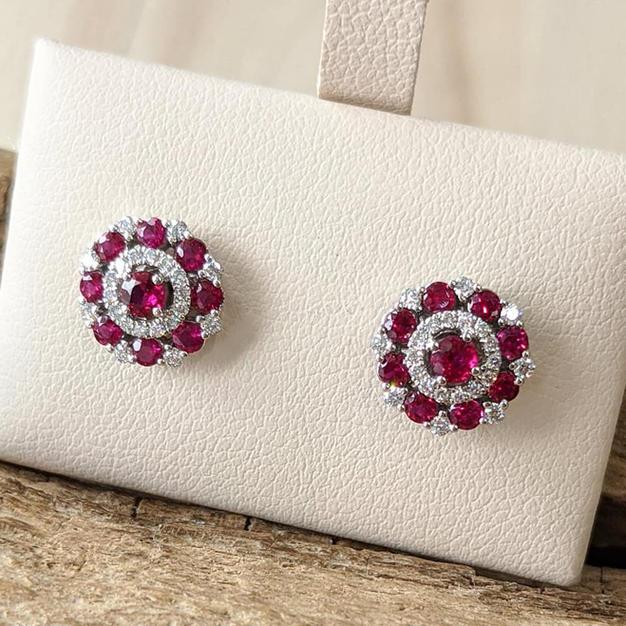 14kt Ruby and Diamond Stud Earrings