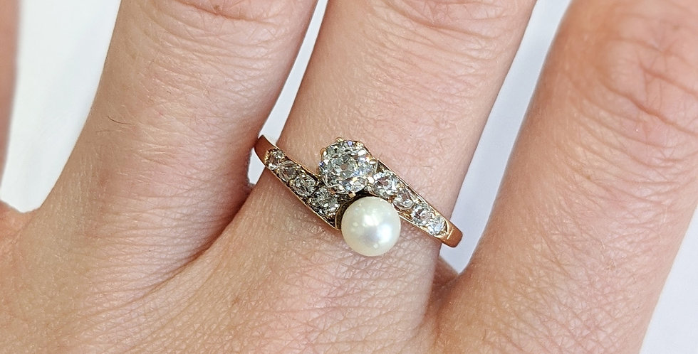 14kt Old Mine cut Diamond and Cultured Pearl Ring