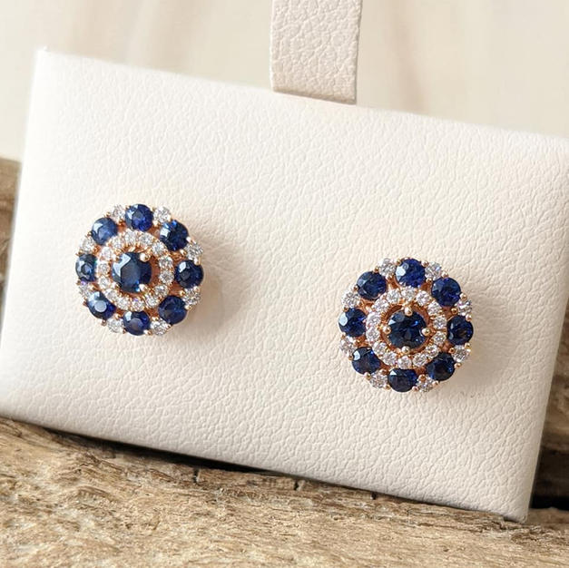 14kt Rose gold Sapphire and Diamond Stud Earrings