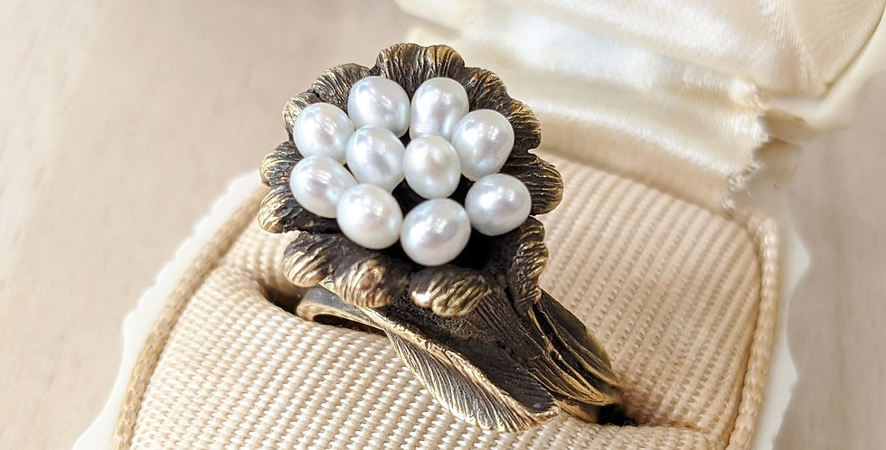 14kt Pearl Cluster Flower Ring