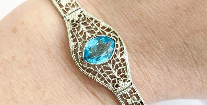 Handmade 14kt Blue Topaz Bracelet